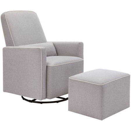 DaVinci Olive Upholstered Swivel Glider with Bonus Ottoman in Grey with Cream Piping ()