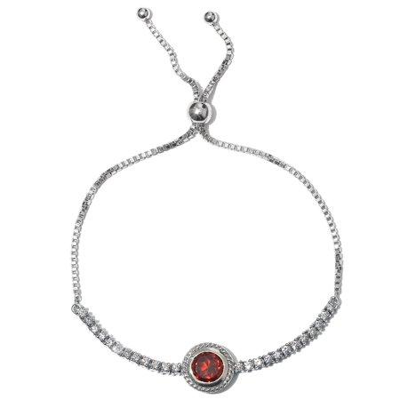 925 Sterling Silver Platinum Plated Garnet Zircon Bolo Bracelet Cttw 2.7