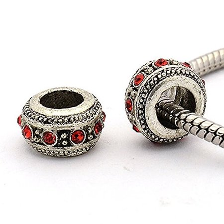 123dc803a Red Crystal Spacer Bead European Bead Compatible for Most European Snake  Chain Charm Bracelet - Walmart.com