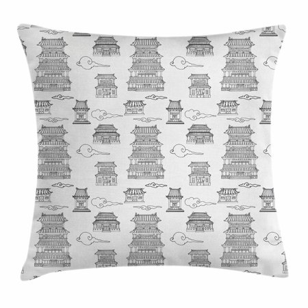 - Ancient China Throw Pillow Cushion Cover, Hand Drawn Images of Asian Architecture Style Houses and Clouds Pagodas, Decorative Square Accent Pillow Case, 16 X 16 Inches, Black White, by Ambesonne