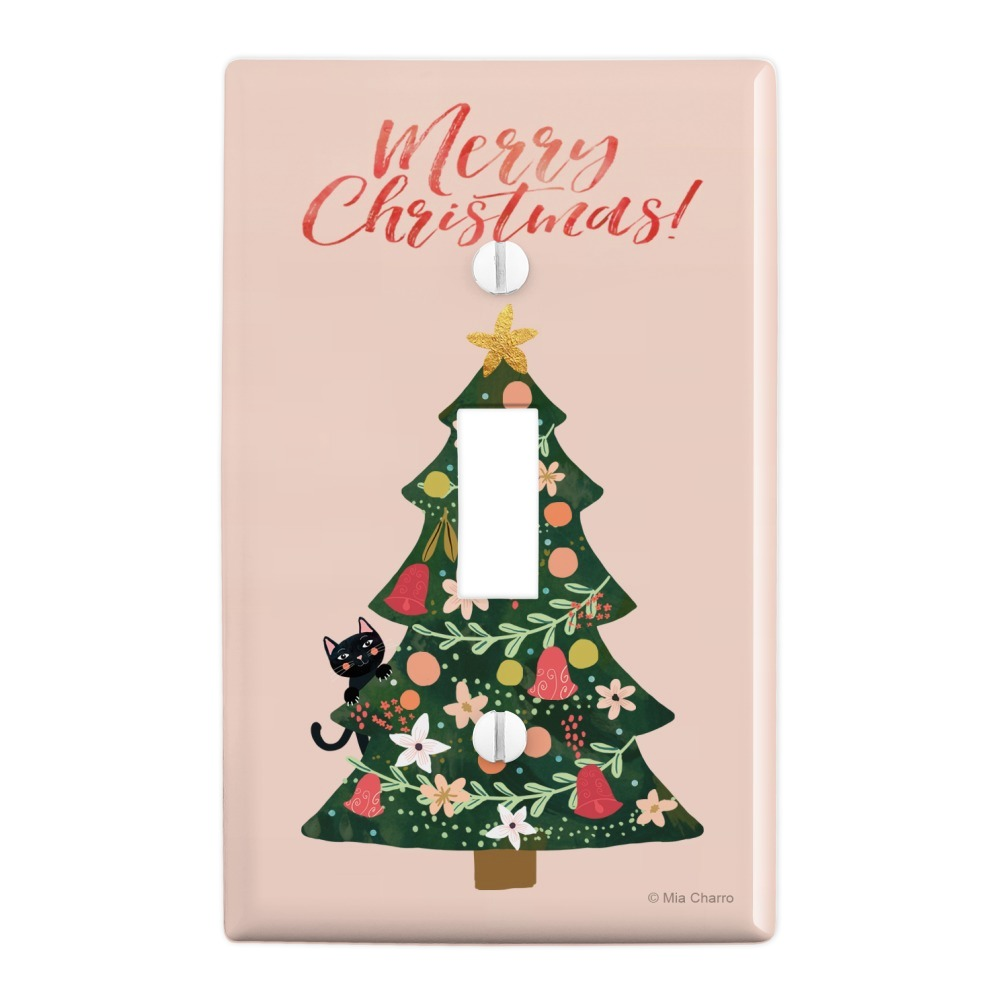 Christmas Tree with Cat Plastic Wall Decor Toggle Light ...