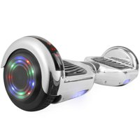 Chrome Self-Balancing Hoverboard w/Bluetooth Speaker, UL2272 Certified -Flashing Light-Up Wheels-LED Lights- Chrome Silver
