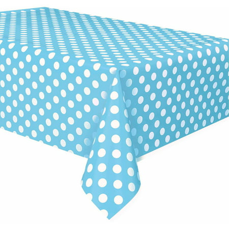 (2 pack) Plastic Light Blue Polka Dots Table Cover, 108