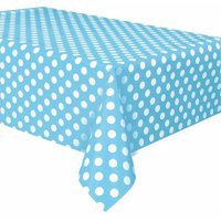 "Plastic Light Blue Polka Dots Table Cover, 108"" x 54"""