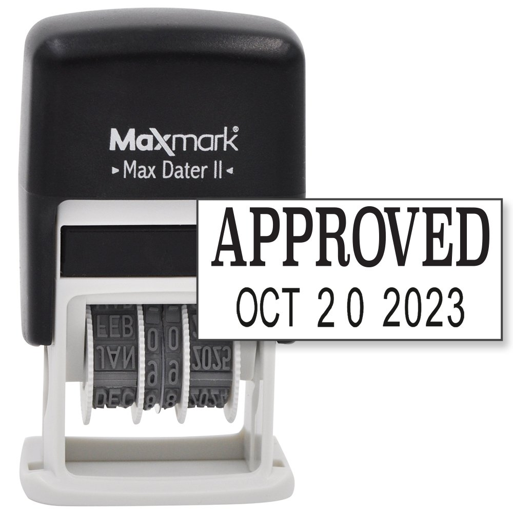 Maxmark Max Dater Self-Inking Phrase APPROVED Date Stamp - Black Ink