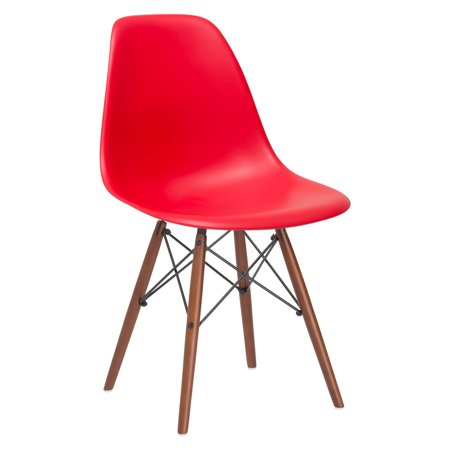 Poly and Bark Vortex Side Chair Walnut Legs in red ()
