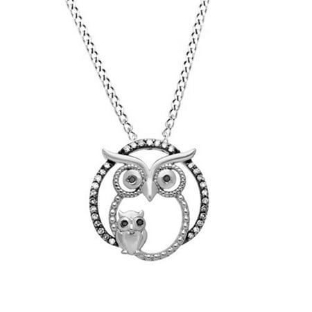 0f254e639 Jewel Zone US - White & Black Natural Diamond Owl Pendant ...