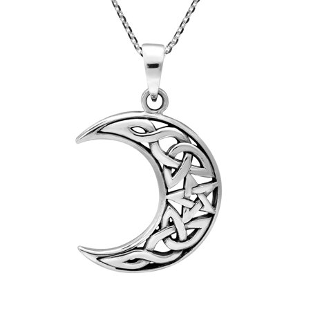 Celtic Goddess of Moon and Stars .925 Sterling Silver Pendant Necklace Goddess Star Necklace