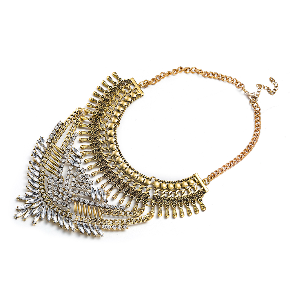 Aventura Jewellery Gold Plated Large Crystal Swarovski Statement Necklace