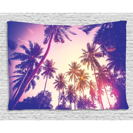 Purple Tapestry, Coconut Palm Trees at Peaceful Sunset Tropical Island Jungle Vintage Effect, Wall Hanging for Bedroom Living Room Dorm Decor, 60W X 40L Inches, Purple Pink Yellow, by Ambesonne - Pink And Purple Room Ideas