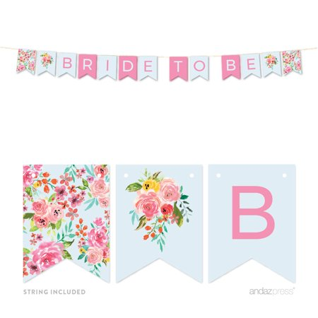 Wedding Pink Roses English Tea Party, 5 FT Hanging Pennant Party Banner with String, Bride to Be](Here Comes The Bride Banner)