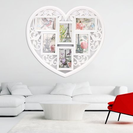 White Love Heart 6 Image Photo Frame Wall Decor Family Wedding
