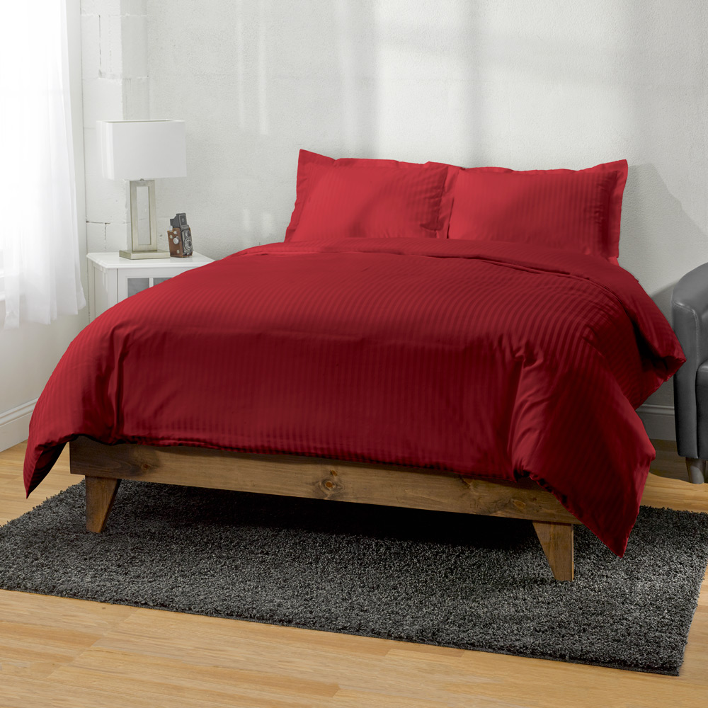 300 Thread Count Egyptian Cotton Striped 3pc Duvet Cover by ExceptionalSheets, 1 Duvet Cover + 2 Pillow Shams