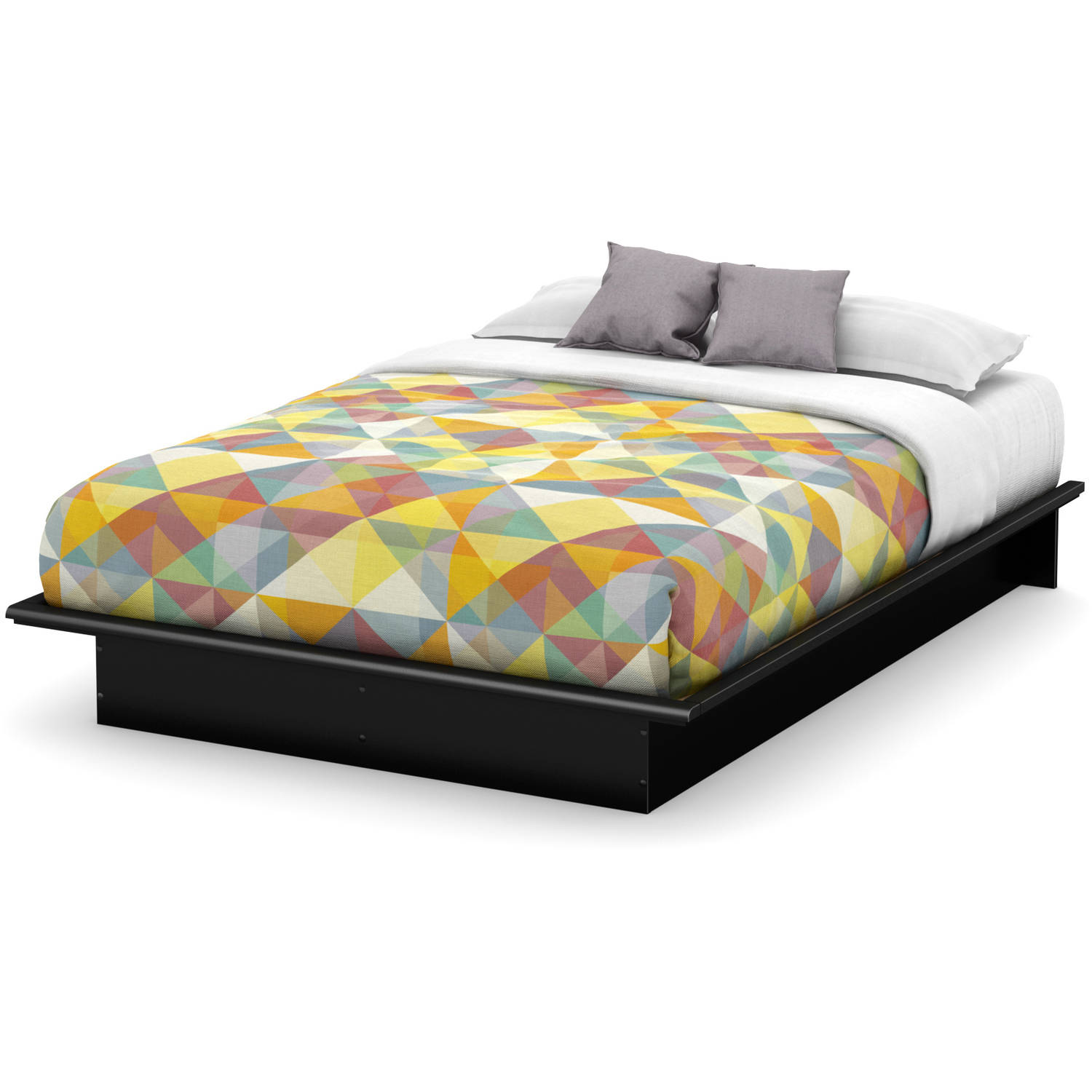 South Shore Basics Full Platform Bed with Molding, 54'', Multiple Finishes