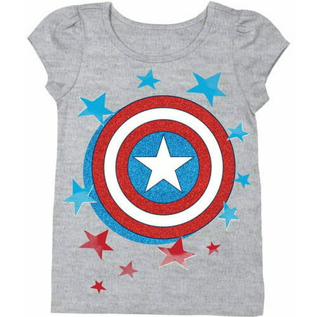 c5adb377 Marvel - Captain America Toddler Girl Shield Logo Short Puff Sleeve Graphic  T-Shirt With Red and Blue Glitter - Walmart.com