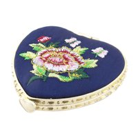 Unique Bargains Heart Shape Embroidered Flower Pattern  Pocket Makeup Cosmetic Mirror Black