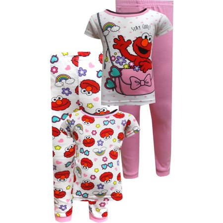 5d14e46fff Sesame Street - Sesame Street Elmo   Cookie Monster Little Girls Cotton Pajama  Set