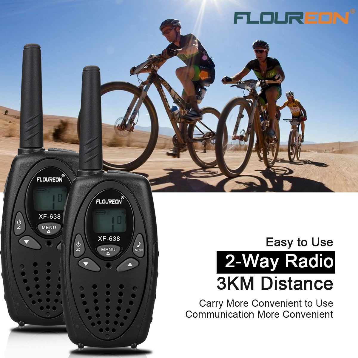 FLOUREON 2 Pack Handheld Walkie Talkie, Two Way Radios 22 Channel 3000M (MAX 5000M open field) UHF Long Range, Black