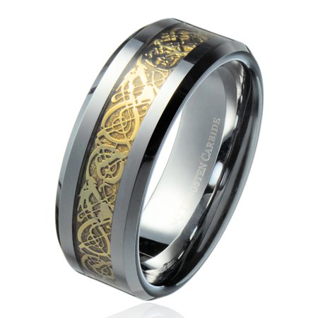 8MM Gold Celtic Dragon Ring Mens Tungsten Carbide Wedding Band Jewelry