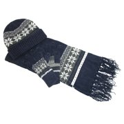 Size one size Women's Chenille Snowflake Hat Gloves and Scarf Set