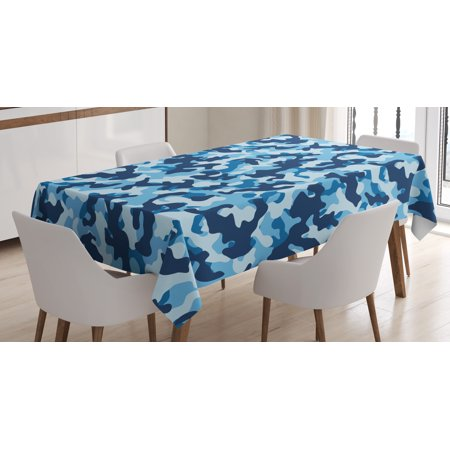 Camouflage Tablecloth, Military Infantry Marine Troops Costume Pattern Vibrant Color Palette Surreal, Rectangular Table Cover for Dining Room Kitchen, 52 X 70 Inches, Blue Coconut, by Ambesonne