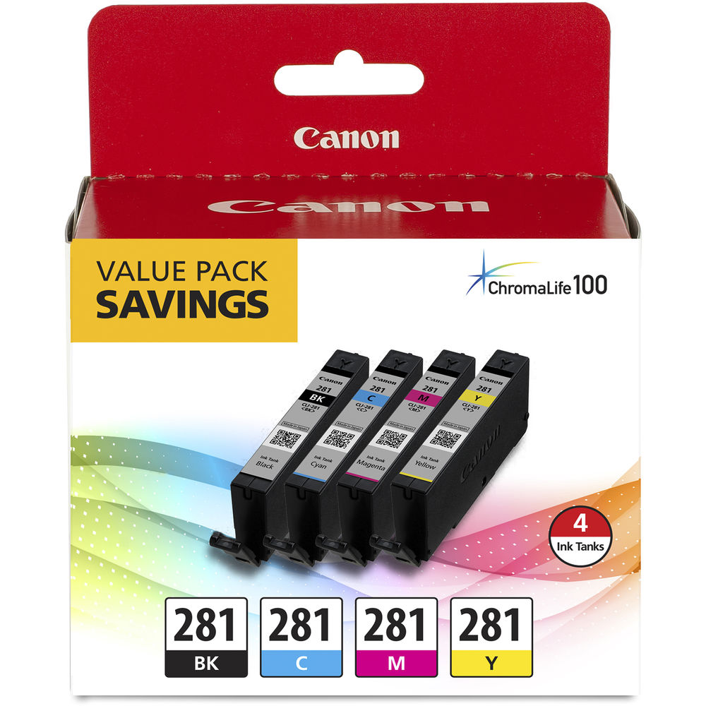 Canon CLI-281 Black, Cyan, Magenta & Yellow 4 Ink Pack