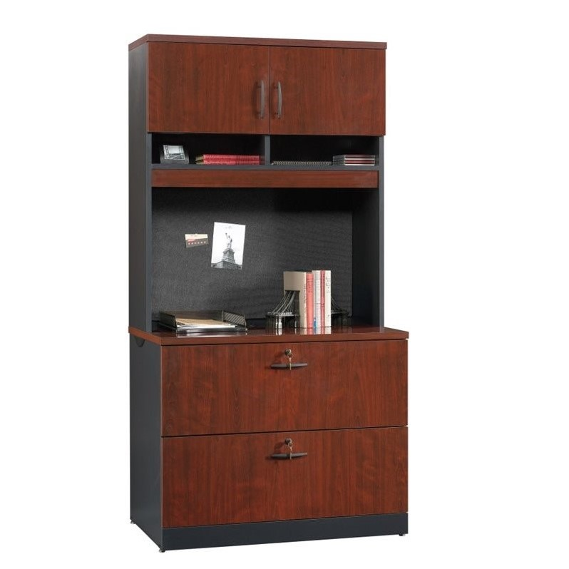 Sauder Via 2 Drawer File Cabinet and Hutch in Classic Cherry