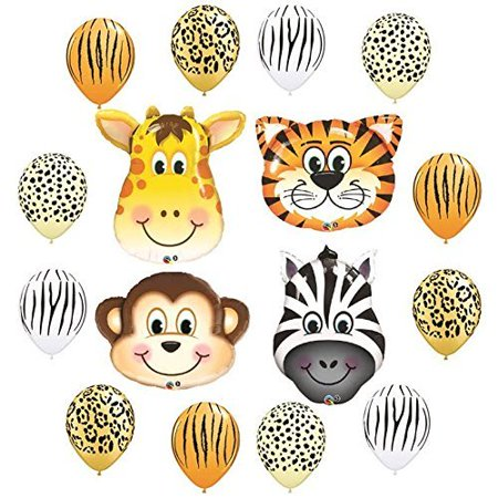 Safari Jungle Zoo Animals Jumbo Balloons Zebra, Tiger, Giraffe & Monkey and 1...