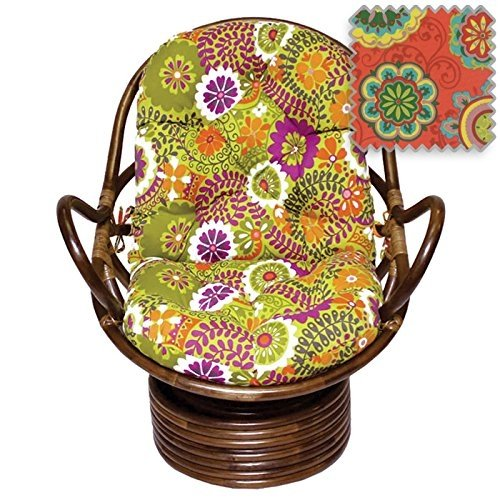 Bali Rattan Papasan Swivel Rocker with Cushion - Print Outdoor Fabric, Farmington Terrace Grenadine - DCG Stores Exclusive