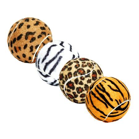 Unique Sports Dog Fetch Squeaker Balls Animal Print 4 Pack