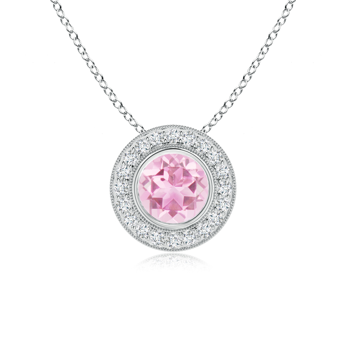 Mother's Day Jewelry Necklace Pink Tourmaline Pendant Necklace with Diamond Halo in 950 Platinum (7mm Pink Tourmaline)... by Angara.com