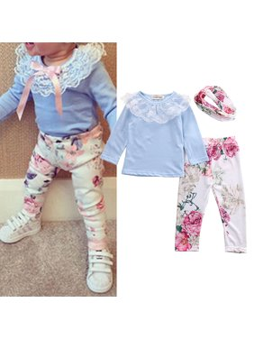 3PCS Newborn Toddler Kids Baby Girl Lace Long Sleeve Tops+Floral Long Pants+Headband Outfits Clothes Set 0-6 Months