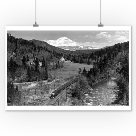 Mount Shasta, California - View of the Mountain, Valley, and Train - Vintage Photograph (9x12 Art Print, Wall Decor Travel Poster) ()