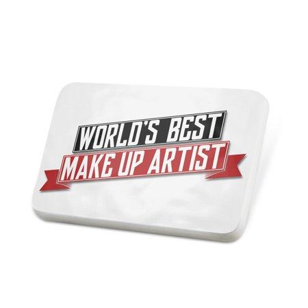 Porcelein Pin Worlds Best Make Up Artist Lapel Badge –