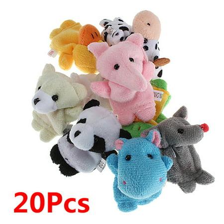 Velvet Cute Animal Finger Puppets Dolls Props Toys for Children,20 Animals Set (Halloween Character Finger Puppets)