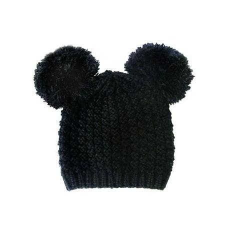 e21138d62 Cute Pom Pom Round Ears Fashion Knit Beanie Cap Hat - Black