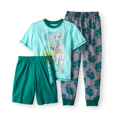 Boys' Giraffe Beach Vibes 3 Piece Pajama Sleep Set (Big Boys & Little Boys)