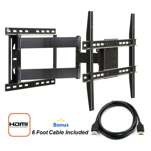 "Atlantic Full Motion TV Wall Mount for 37""-84"" TVs with HDMI Cable"