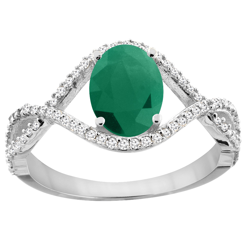 14K White Gold Natural HQ Emerald Ring Oval 8x6 mm Infini...