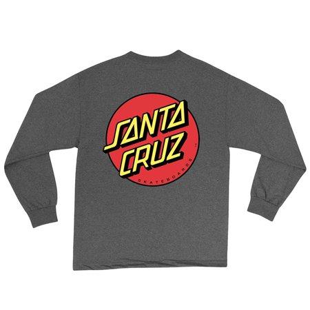 Mens Classic Dot Regular Long-Sleeve Shirt Large Charcoal Heather, 90% Cotton By Santa Cruz ()
