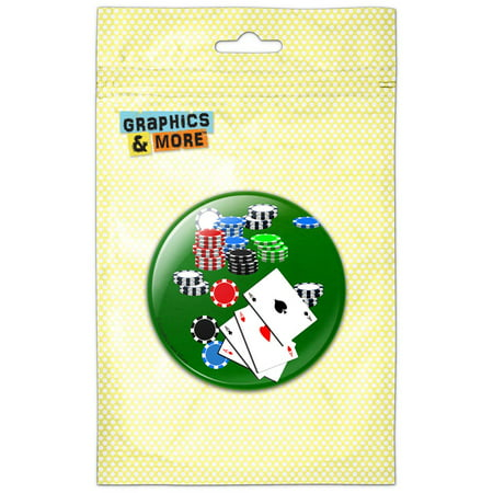 Poker Aces Cards Chips Gambling Refrigerator Button Magnet ()