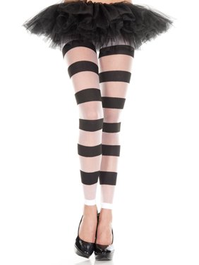 012f7f941fbf1 Product Image Striped Footless Pantyhose 35107-WHITE/BLACK. Music Legs