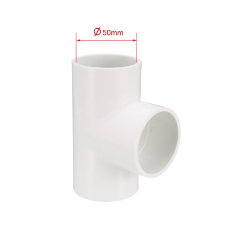 50mm Slip Tee PVC Pipe Fitting T-Shaped Coupling Connector - image 3 of 4