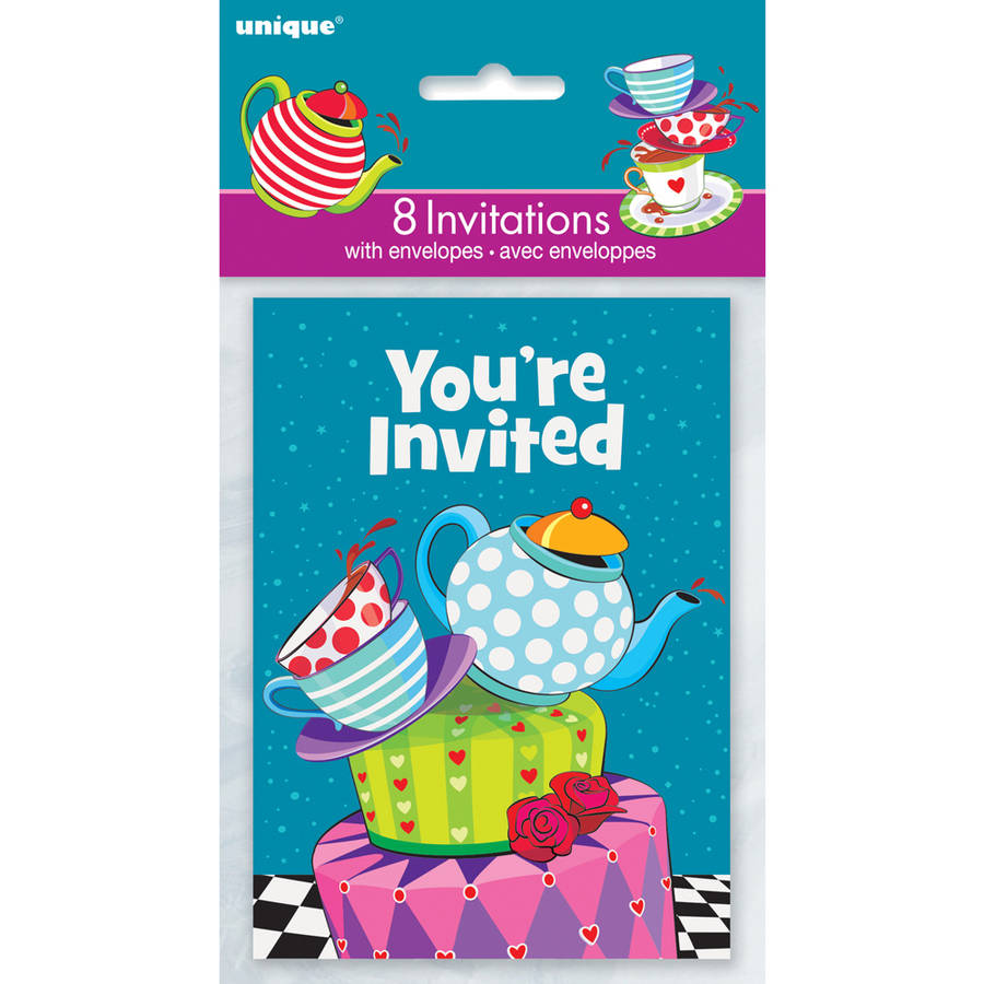 Alice in Wonderland Tea Party Invitations, 8-Count