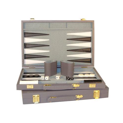 """15"""" Grey Vinyl Backgammon Set"""