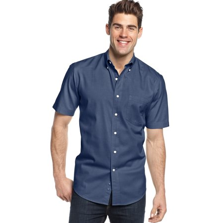 club room big tall short sleeve button down shirt navy