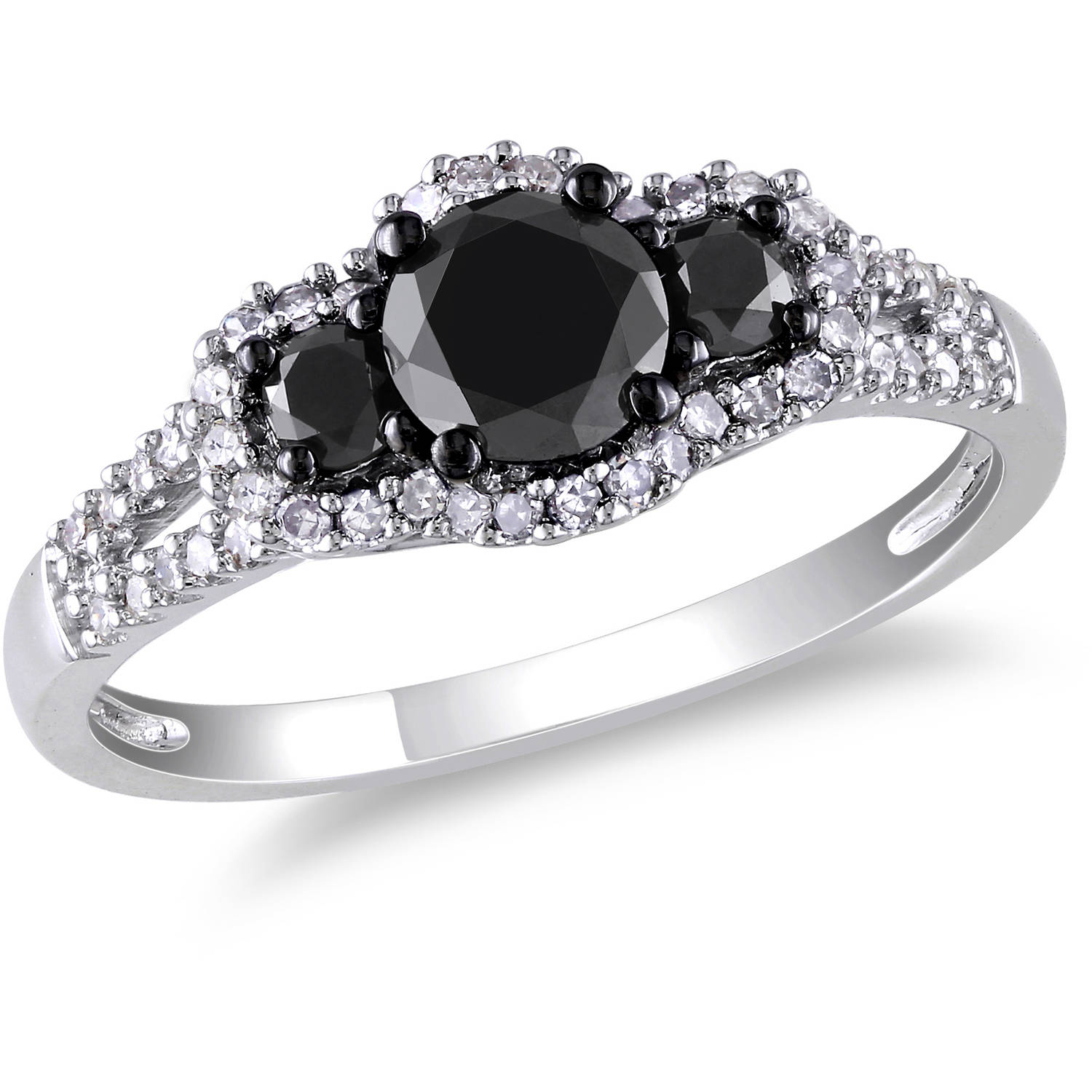 Inspirational Black and White Diamond Rings In White Gold
