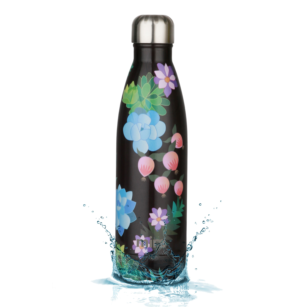 MIRA Vacuum Insulated Travel Water Bottle   Leak-proof Double Walled Stainless Steel Cola Shape Portable Water Bottle   No Sweating, Keeps Your Drink Hot & Cold   17 Oz (500 ml)   Paradise