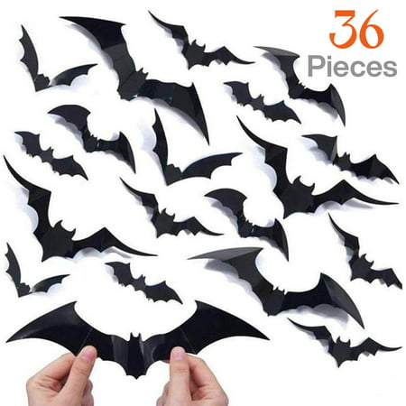 Russian Halloween Party Brooklyn (36 pcs Halloween Party Supplies PVC 3D Decorative Scary Bats Wall Decal Wall Sticker, Halloween Eve Decor Home Window Decoration)