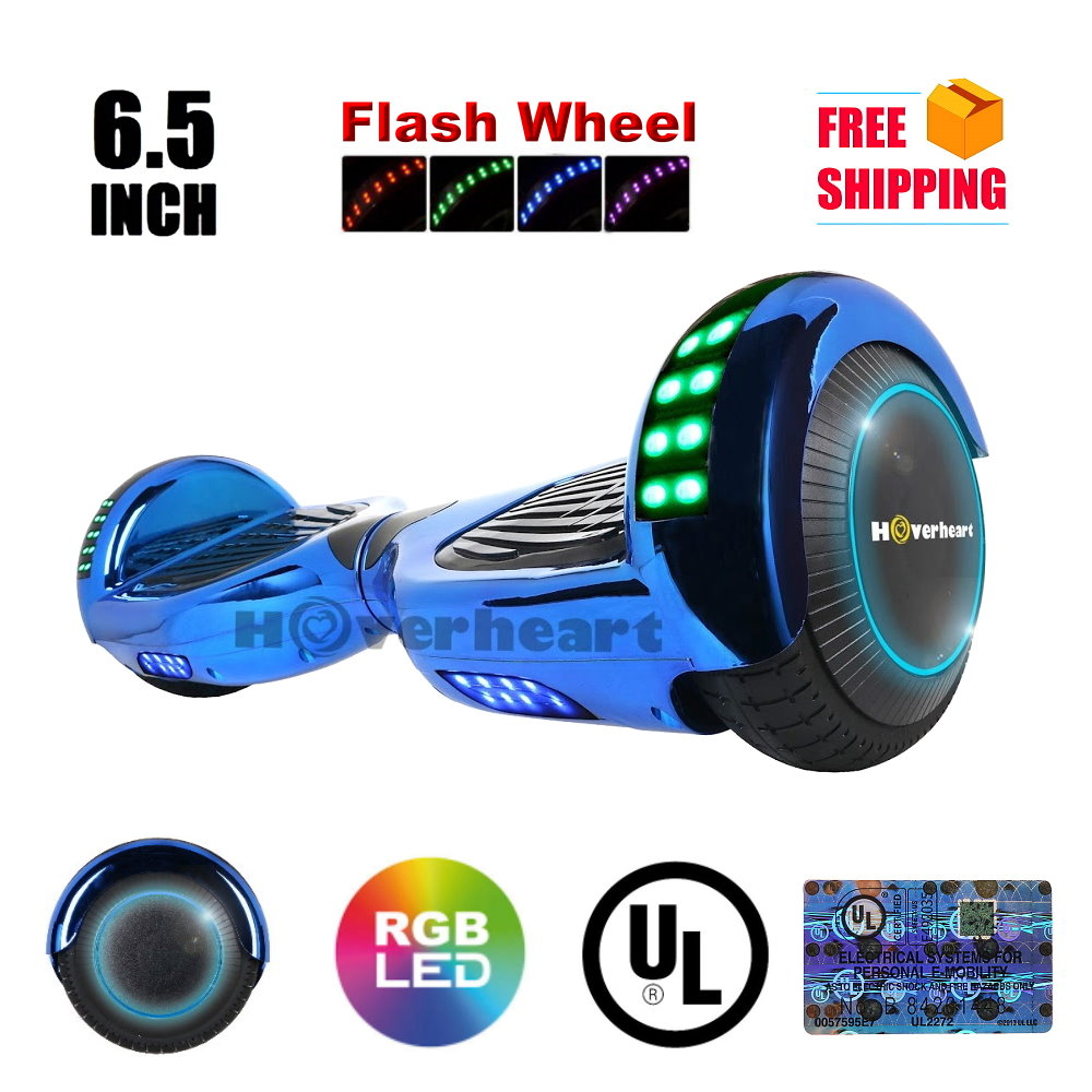 "UL2272 Certified Bluetooth TOP LED6.5"" Hoverboard Two Wheel Self Balancing Scooter  Chrome Blue"